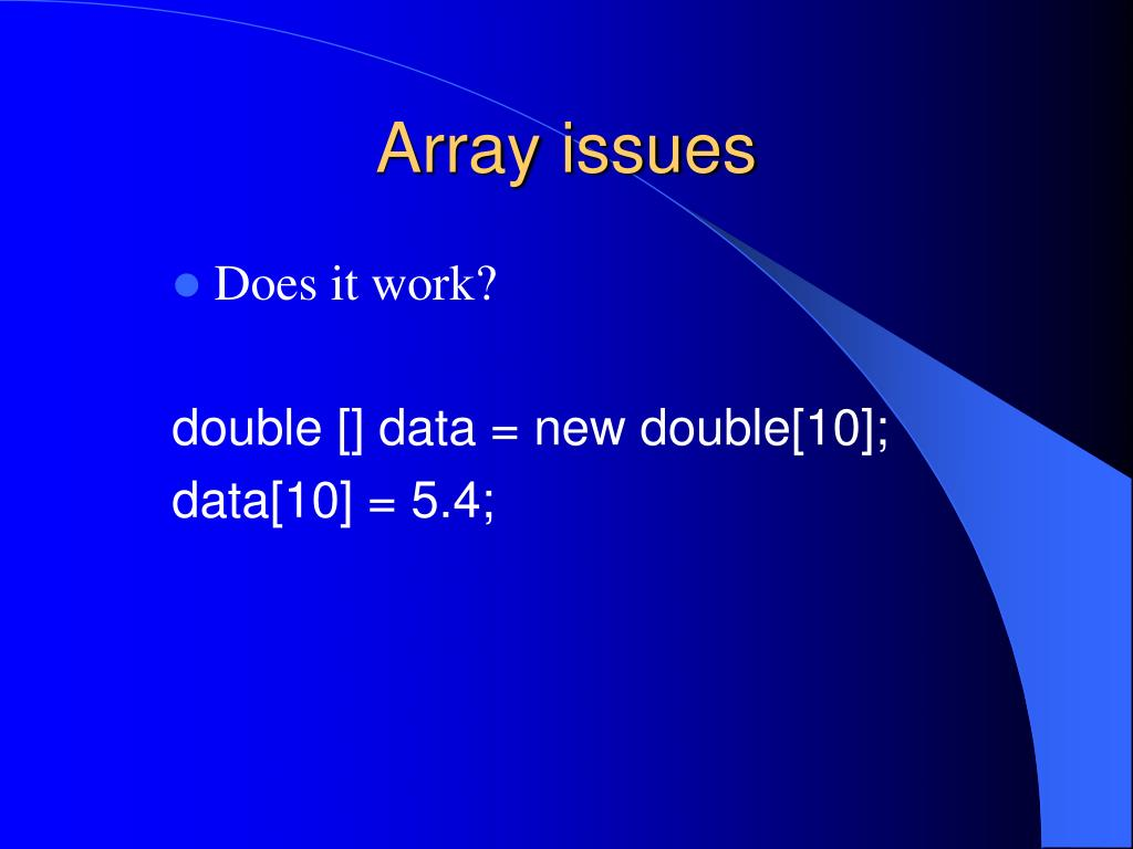Array issues