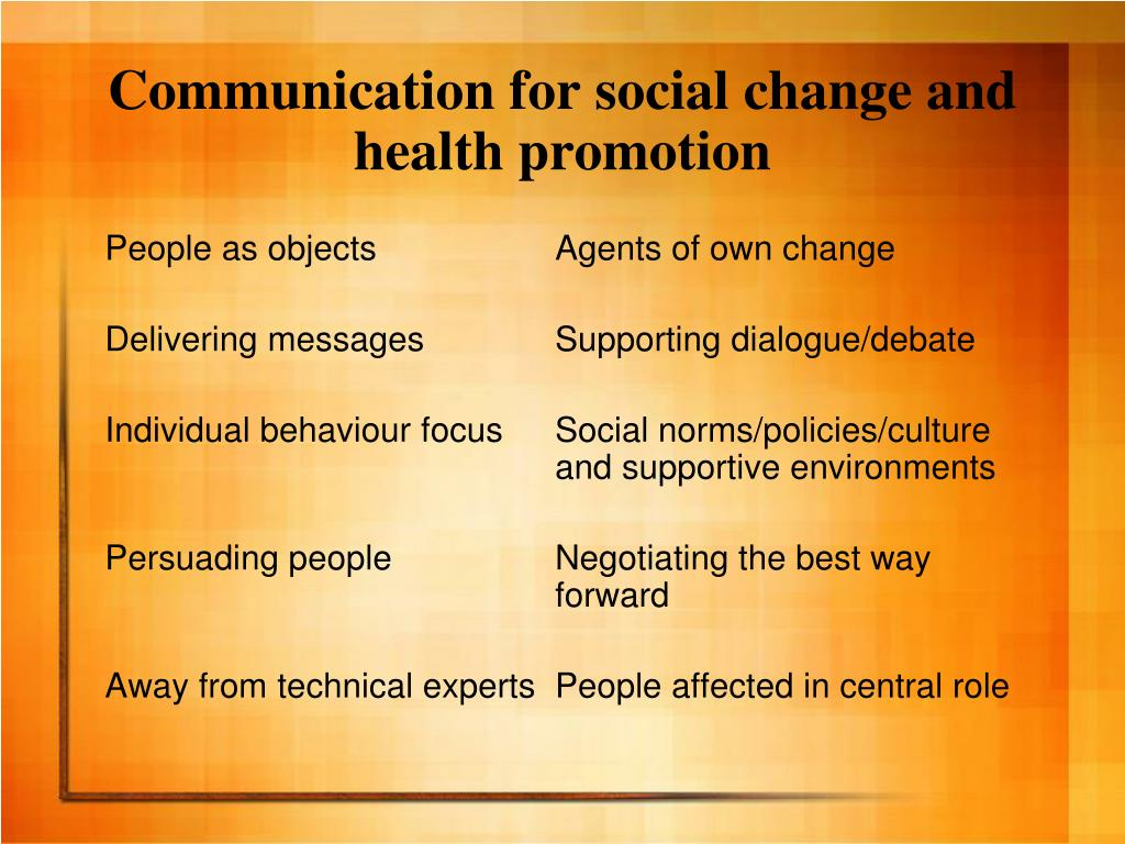 Communication for social change and health promotion