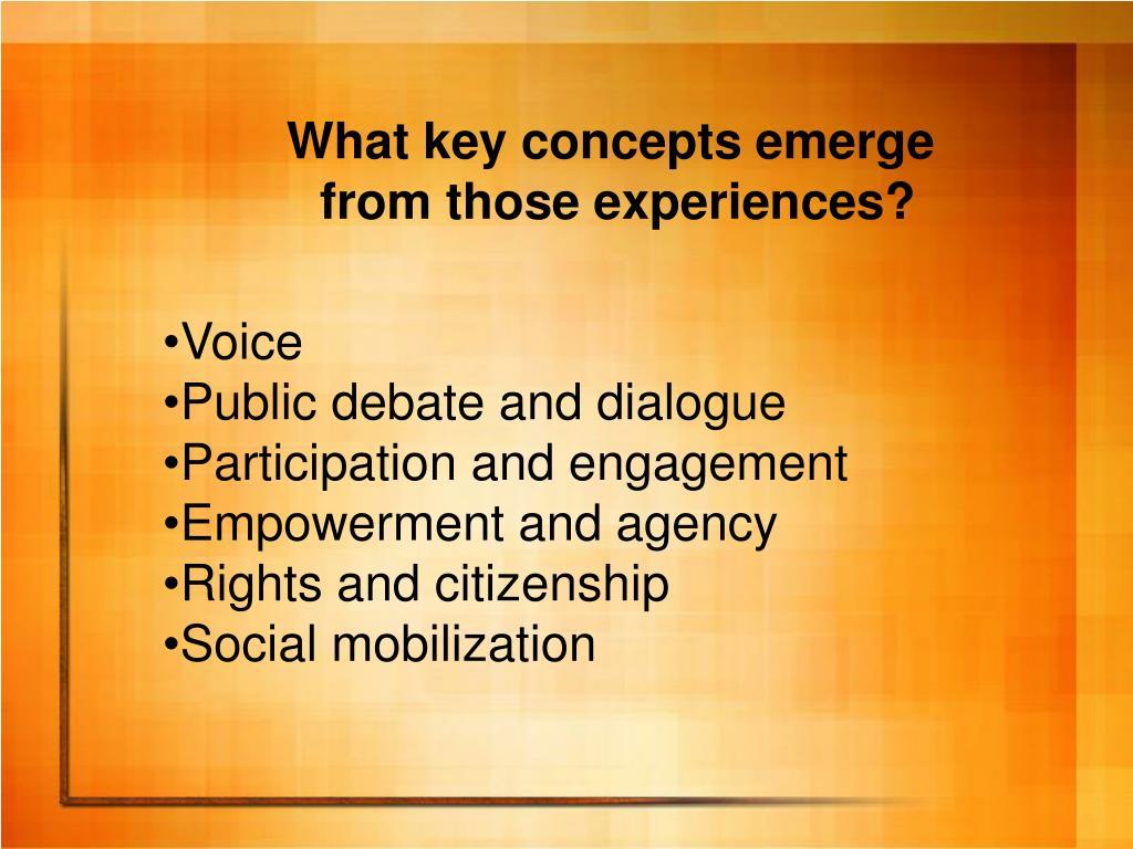 What key concepts emerge