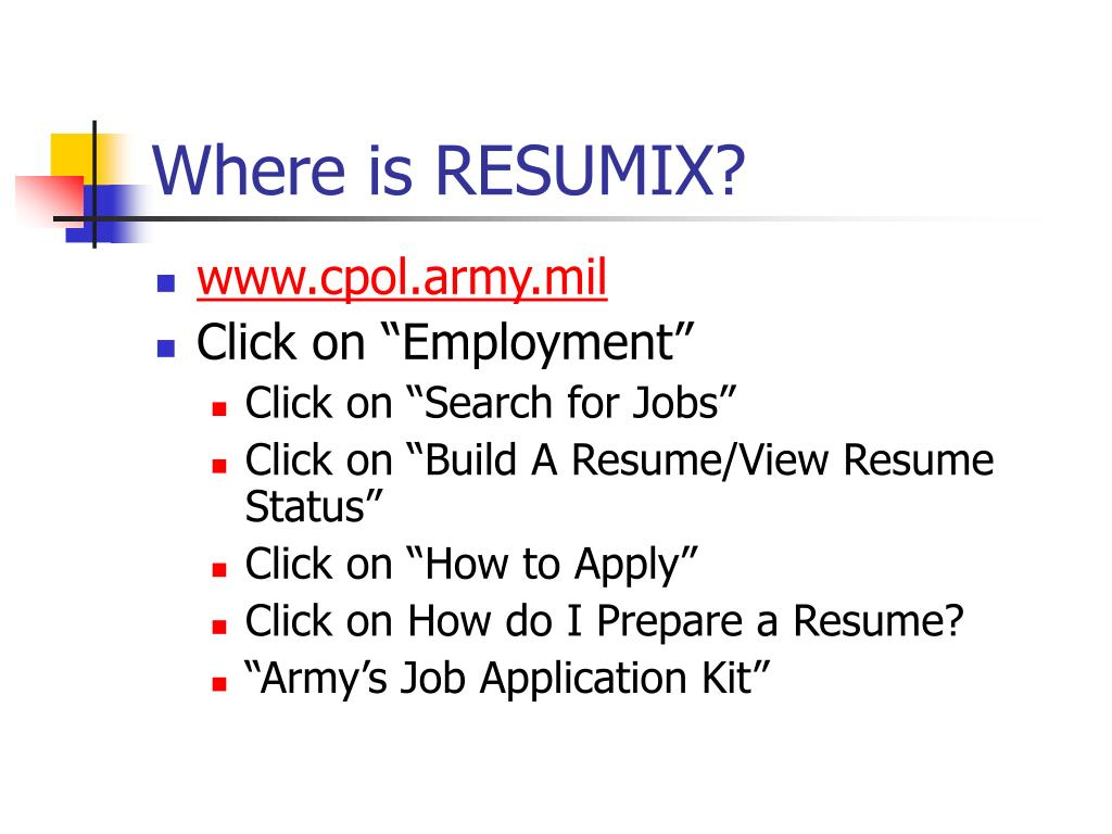 active resume with the army centralized resumix