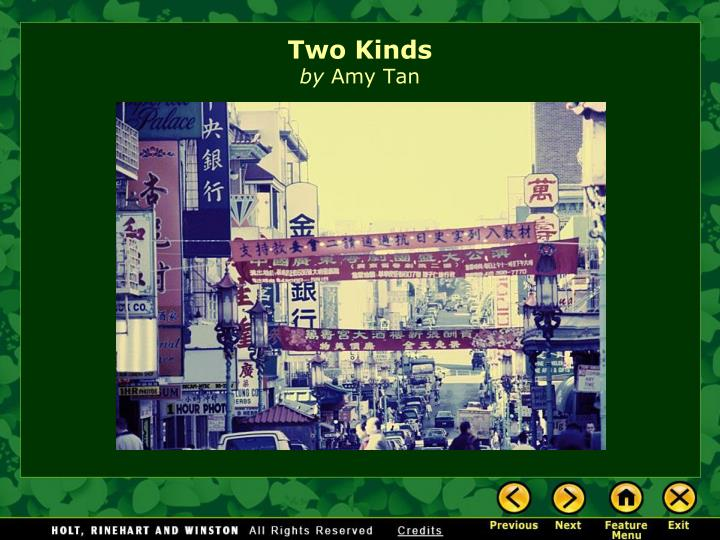 two kinds by amy tan literary essay Amy tan's 'two kinds' is a short story about the relationship between a chinese-american mother and her american daughter two kinds is a chapter from tans book, the joy luck club, which is made up of sixteen stories about tan growing up in america with a mother from ancient chinese customs (tan, 189.