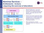 nominee services entitlements actions requiring the exercise of discretion