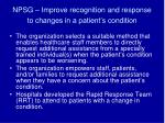 npsg improve recognition and response to changes in a patient s condition