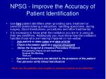 npsg improve the accuracy of patient identification