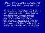 npsg the organization identifies safety risks inherent in its patient population