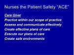 nurses the patient safety ace41