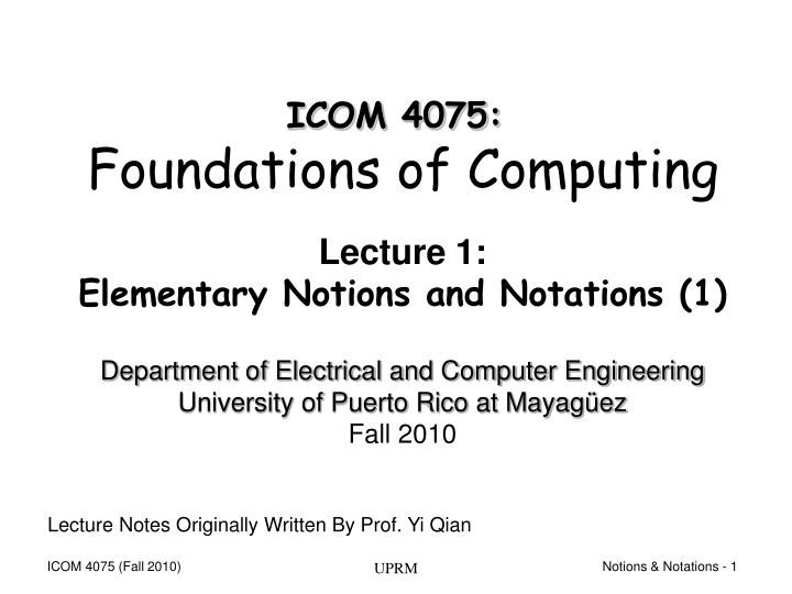 lecture 1 elementary notions and notations 1 n.