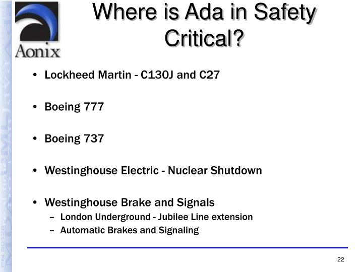 Where is Ada in Safety Critical?