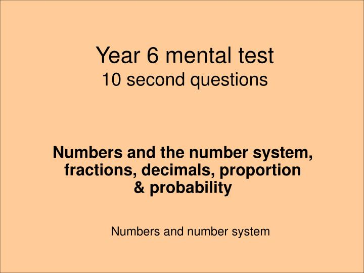 year 6 mental test 10 second questions n.