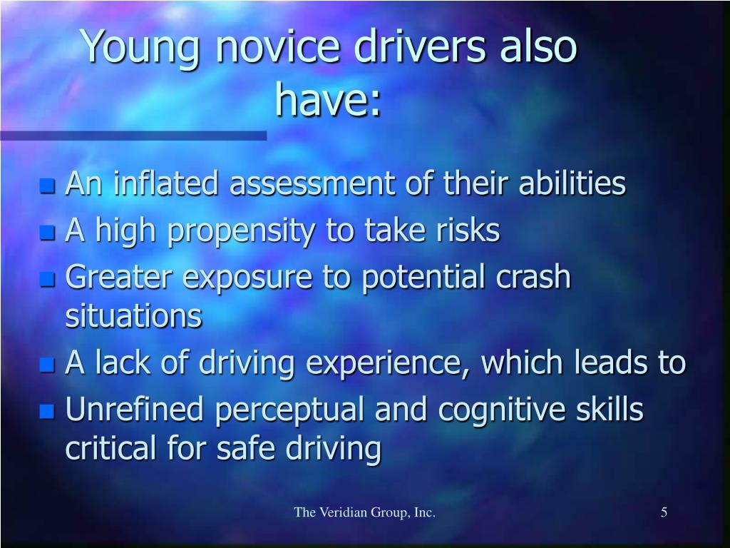Young novice drivers also have:
