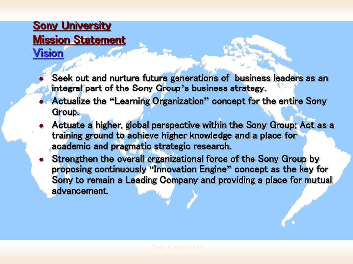 Sony university mission statement vision