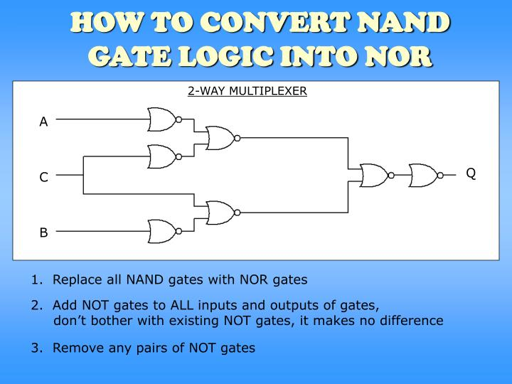 how to convert nand gate logic into nor n.