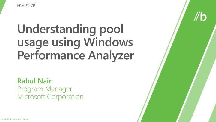 understanding pool usage using windows performance analyzer n.