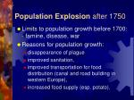 population explosion after 1750