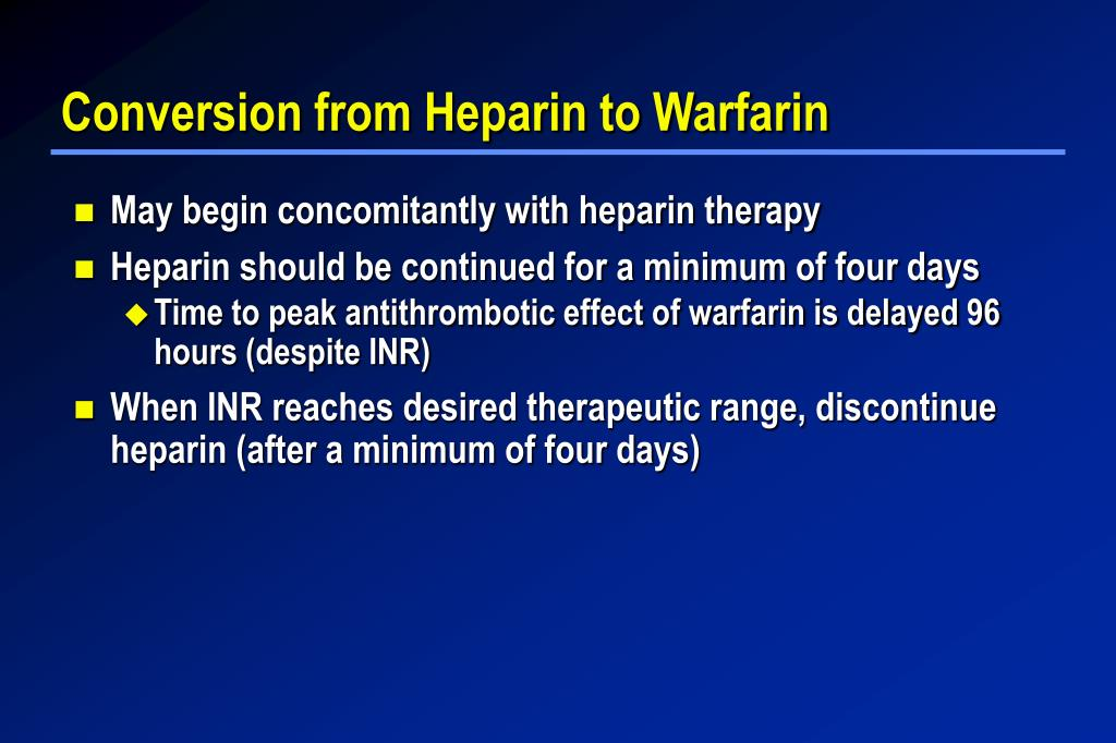 Conversion from Heparin to Warfarin