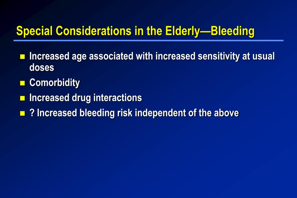 Special Considerations in the Elderly—Bleeding