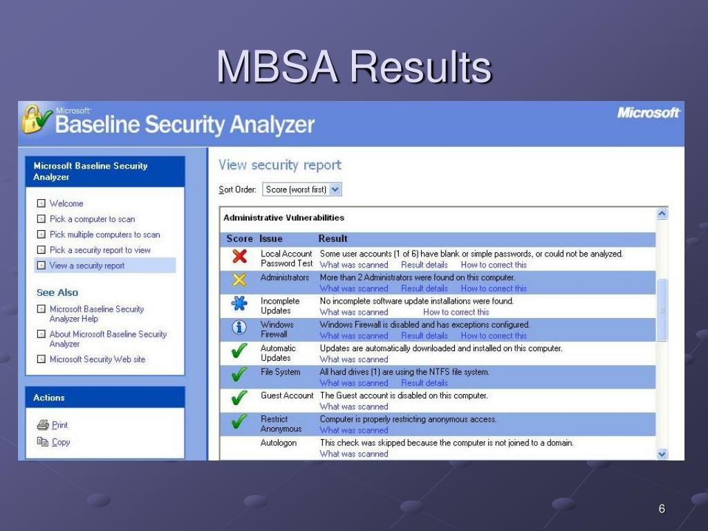 MBSA Results