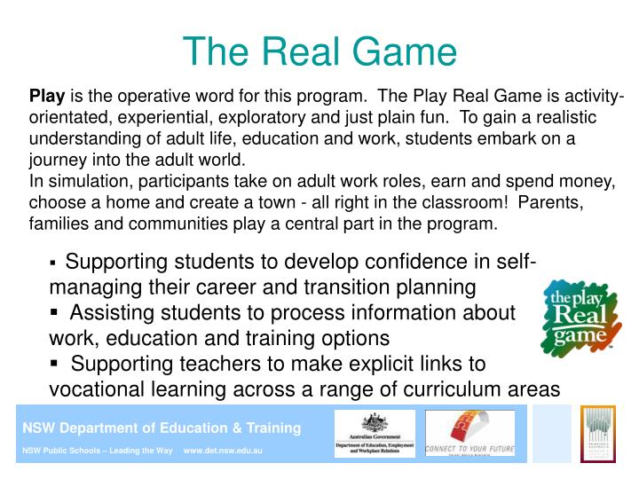 Ppt careers education in primary school presentation for parents the real game malvernweather Choice Image
