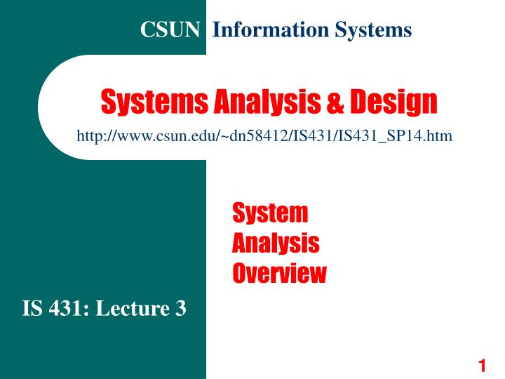 systems analysis design n.