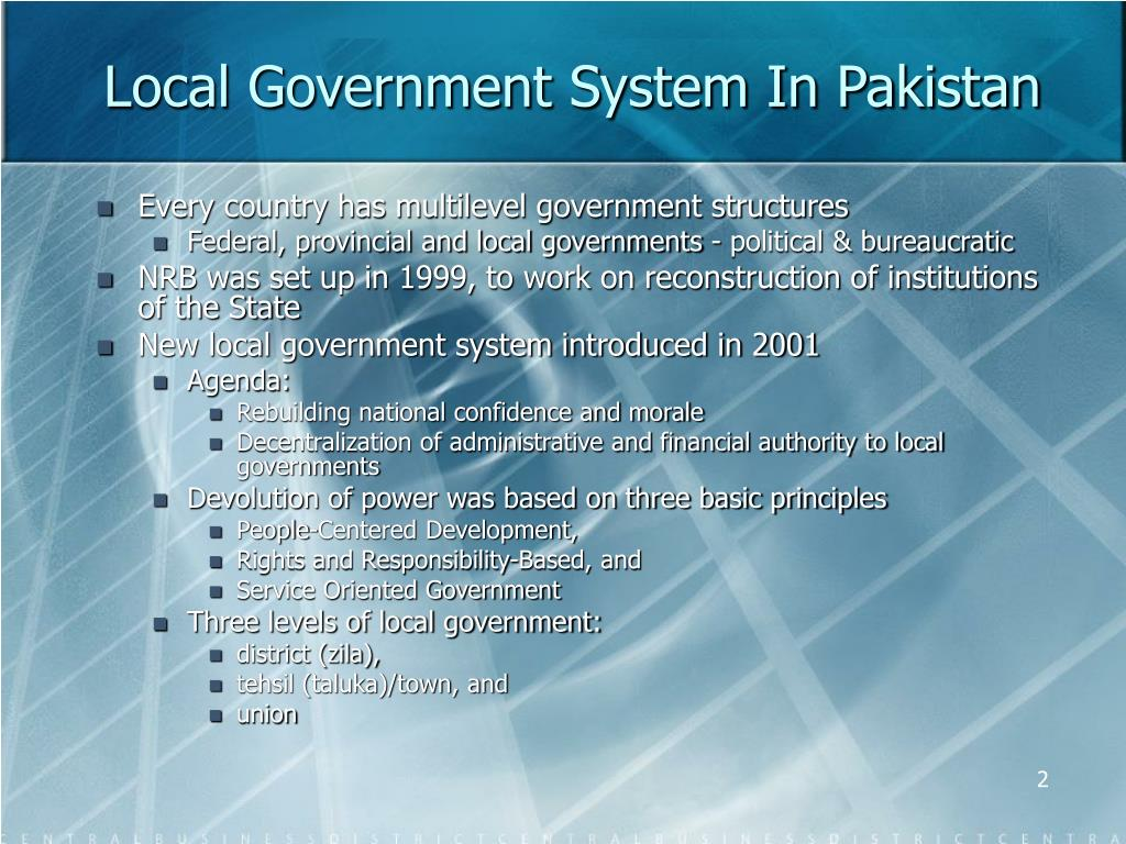 Local Government System In Pakistan