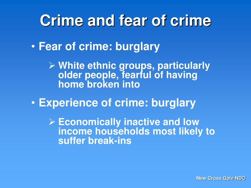 fear of crime thesis 00 abstract the research aims at establishing a relationship between the fear of crime, gender and prior victimization prior research indicates that there have been weak links between the latter factors hence the research aims at.