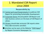 1 mandated csr report since 2004
