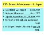 esd major achievements in japan
