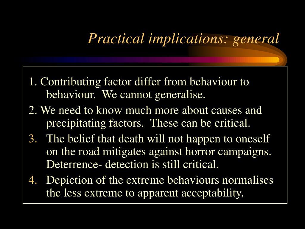 Practical implications: general