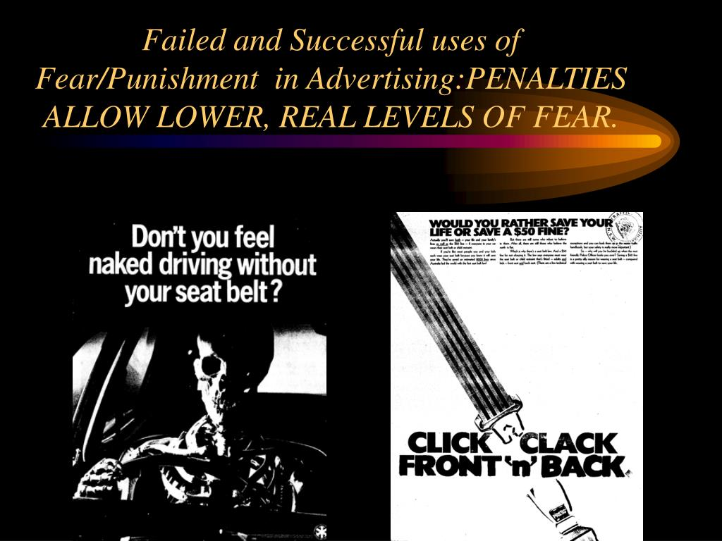 Failed and Successful uses of Fear/Punishment  in Advertising:PENALTIES ALLOW LOWER, REAL LEVELS OF FEAR.