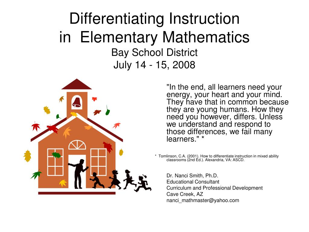 Ppt Differentiating Instruction In Elementary Mathematics Bay