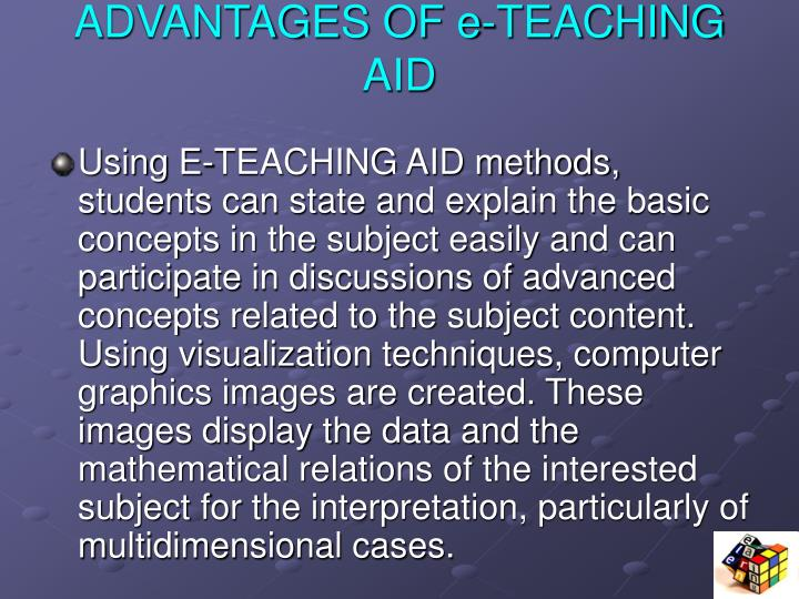 ADVANTAGES OF e-TEACHING AID