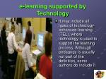 e learning supported by technology