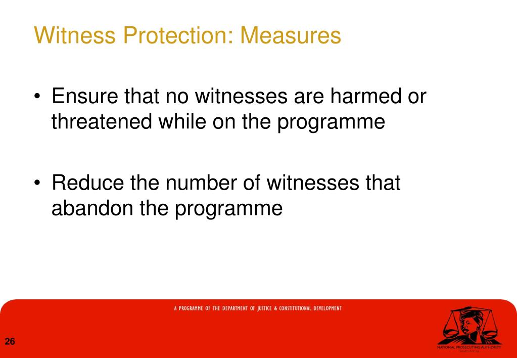 Witness Protection: Measures