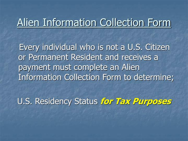 Alien Information Collection Form