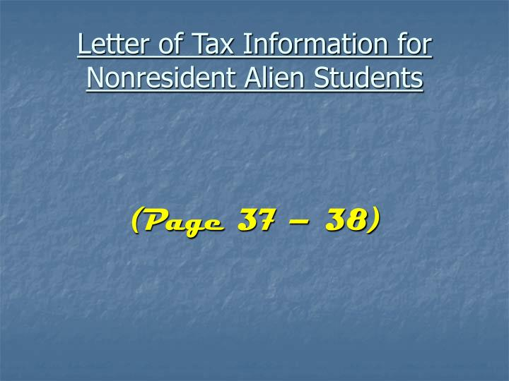Letter of Tax Information for Nonresident Alien Students