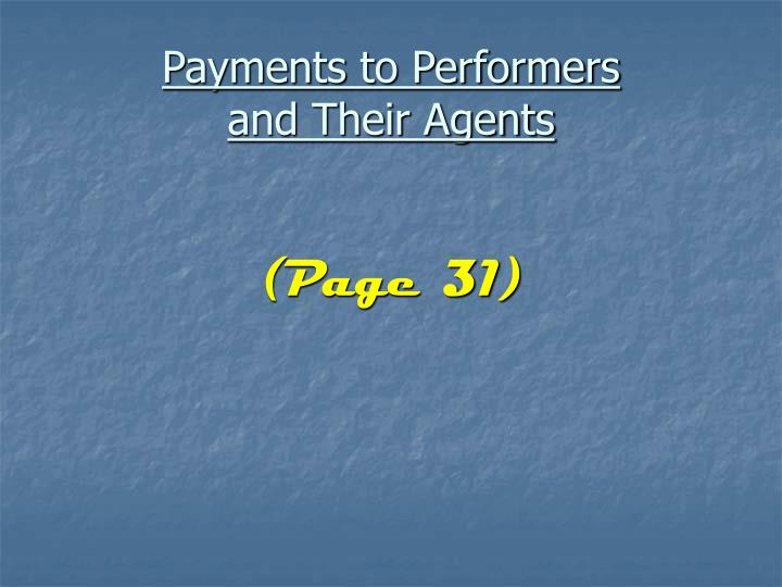 Payments to Performers
