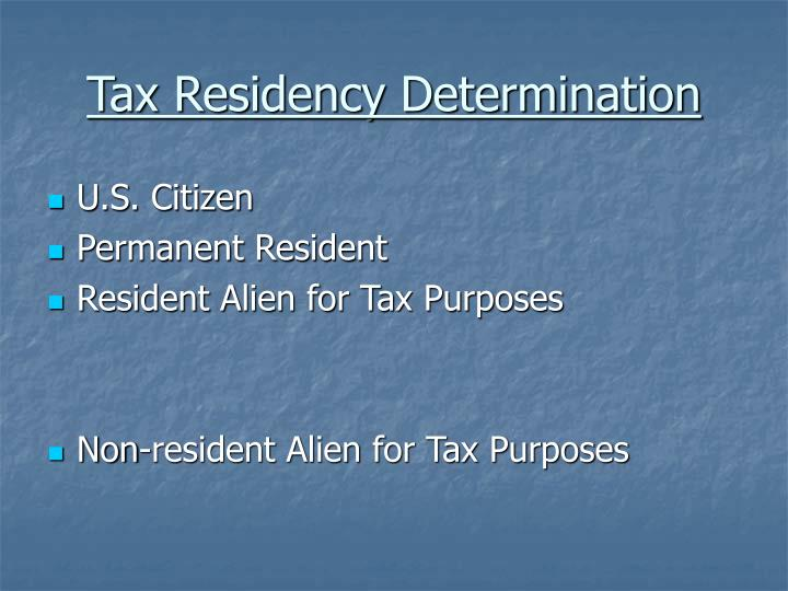 Tax Residency Determination
