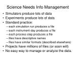 science needs info management