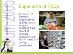 experience of esos