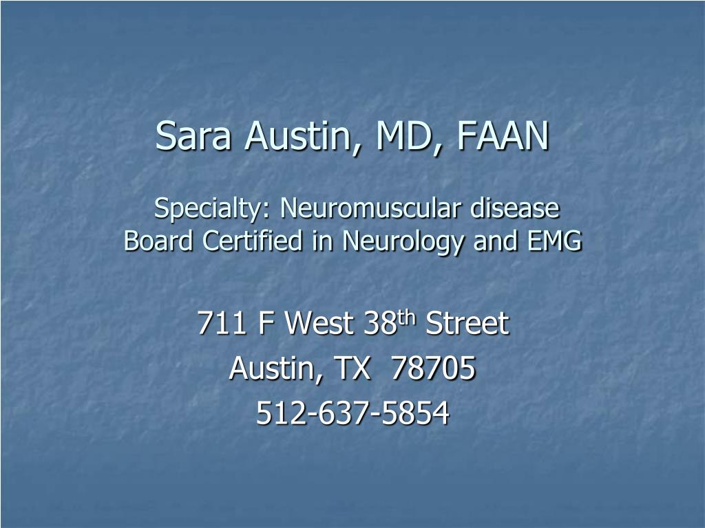 Sara Austin, MD, FAAN