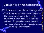categories of mainstreaming
