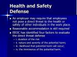 health and safety defense