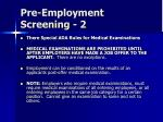 pre employment screening 2