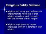religious entity defense