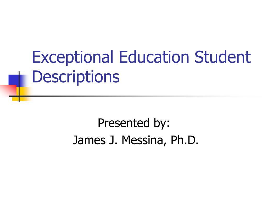 exceptional education student descriptions l.