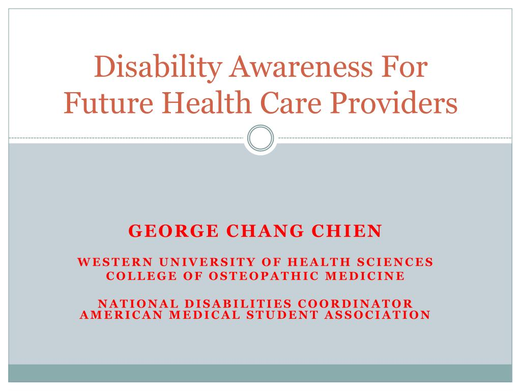 disability awareness for future health care providers l.