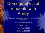 demographics of students with ability