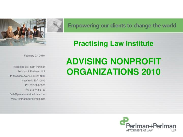 practising law institute advising nonprofit organizations 2010 n.