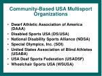 community based usa multisport organizations