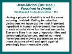 jean michel cousteau freedom in depth handicapped scuba association 1984